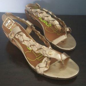 Kensi Girl Gold Braid Wedge Sandal